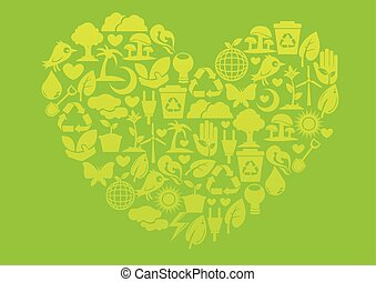 Ecology icons to form into a heart shape. Nature...
