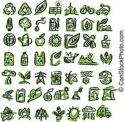 ecology icons vector illustration sketch hand drawn with black and green lines isolated on white background