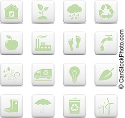Ecology icons, web buttons set
