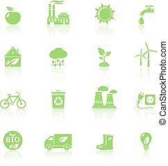 Ecology icons with reflection