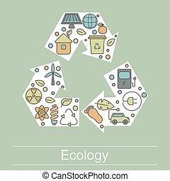Ecology illustration with eco icons