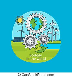 Ecology in the world concept - Ecology in the world, vector...