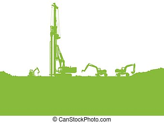 Ecology industrial construction site vector background illustrat