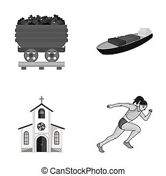 ecology, industry, trade and other monochrome icon in cartoon style., running, sportswoman, business icons in set collection.