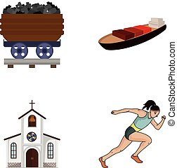 ecology, industry, trade and other web icon in cartoon style., running, sportswoman, business icons in set collection.