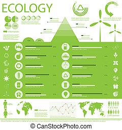 Ecology info graphic - architecture, arrow, buildings, ...