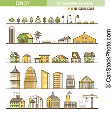 Ecology infographic element set of outline environment and building