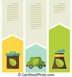 Ecology infographic with environment icons.