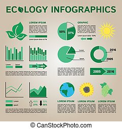 Ecology Infographics Collection, Graphic Vector Elements on dark background