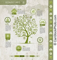 Ecology infographics with green tree, sketch for yuor design