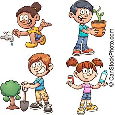 Ecology kids - Kids helping the environment. Vector clip art...