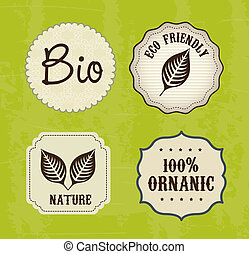ecology labels over green background vector illustration