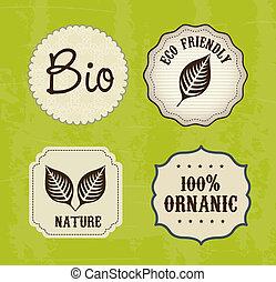 ecology labels over green background vector illustration