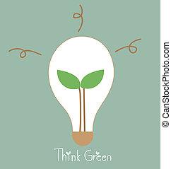 Ecology light bulb, tree grow in a light bulb.