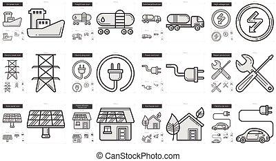 Ecology line icon set.