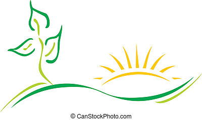 Ecology logo - Ecology theme logo template with leaf and sun