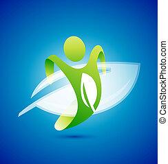 Ecology man symbol. Environmental concept