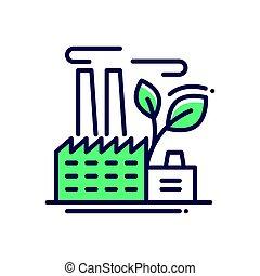 ecology-, moderní, vektor, jednoduché vedení, ikona