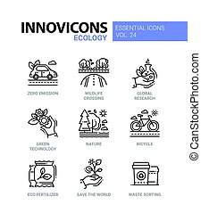 Ecology - modern color vector single line icons set. Zero...