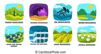 Ecology, natural resources isolated icons, finite or renewable sources