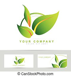 Logo vector design of green leafs for bio or ecological products