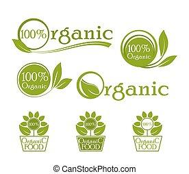 Ecology, organic icon set. Organic logo, icons for natural food. Bio, organic, vegan fresh etc. Green vector label design.