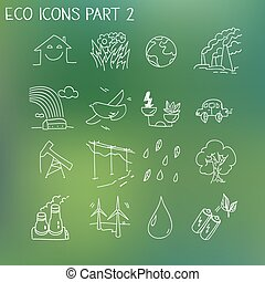 Ecology organic signs eco and bio elements in hand drawn style nature planet protection care recycling save concept
