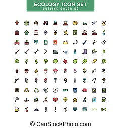 Ecology outline coloring icon set