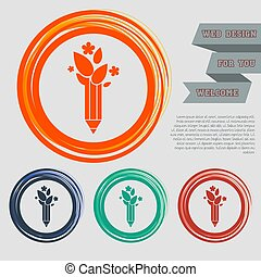 Ecology pencil, eco pen icon on the red, blue, green, orange buttons for your website and design with space text. Vector