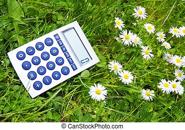ecology concept with calculatur showing environmental...