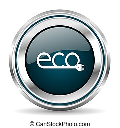 Ecology plug vector icon. Chrome border round web button....