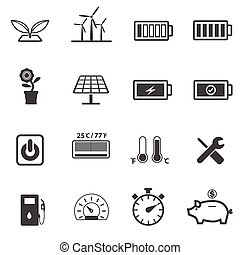 Ecology, Power and energy icons set