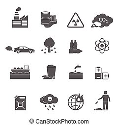 Ecology Problems Icons Set