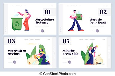 Ecology Protection, Recycling, Plastic Reuse Website Landing Page Set, Volunteers Cleaning Garbage, People Collecting Trash, Charity Social Concept, Web Page. Cartoon Flat Vector Illustration, Banner