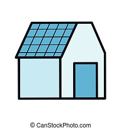 ecology renewable house with solar panel