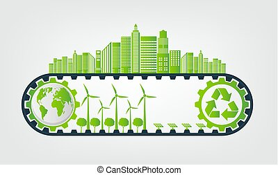 Ecology Saving Gear Concept And Environmental Sustainable Energy Development, Vector illustration