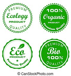 Ecology seal set bio label vector