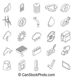 Ecology set icons in isometric 3d style isolated on white...