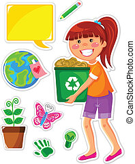 set of icons related to ecology and a girl recycling paper
