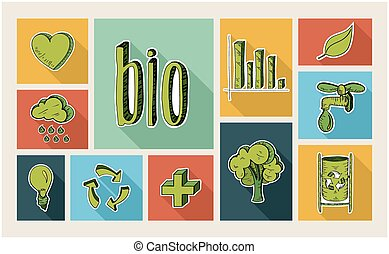 Ecology sketch style flat icon set