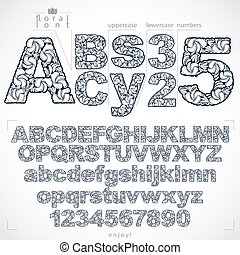 Ecology style flowery font and numbers, monochrome vector...