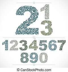 Ecology style flowery numbers, blue vector numeration made...