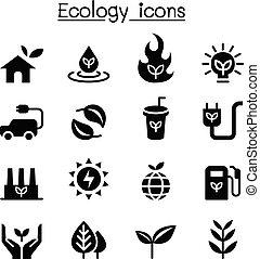 Ecology & Sustainable lifestyle icon set