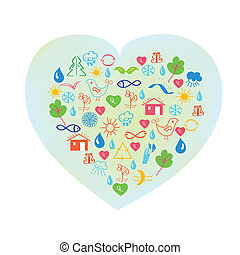 Ecology symbol - abstract heart background