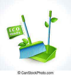 Ecology and waste global eco friendly dustpan and brush symbol isolated on white background vector illustration