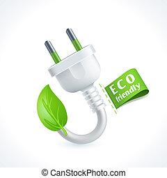 Ecology symbol plug - Ecology and waste plug symbol with eco...