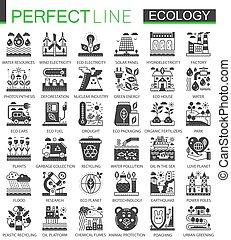 Ecology technology classic black mini concept symbols. Eco renewable energy modern icon pictogram vector illustrations set.