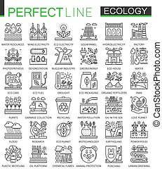 Ecology technology outline concept symbols. Perfect thin line icons. Modern stroke linear style illustrations set.