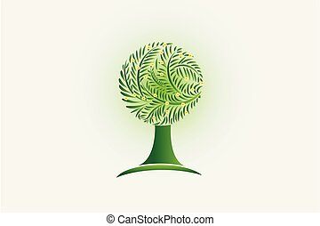 Ecology tree and flowers logo