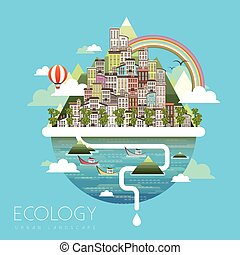ecology urban life scenery in flat design